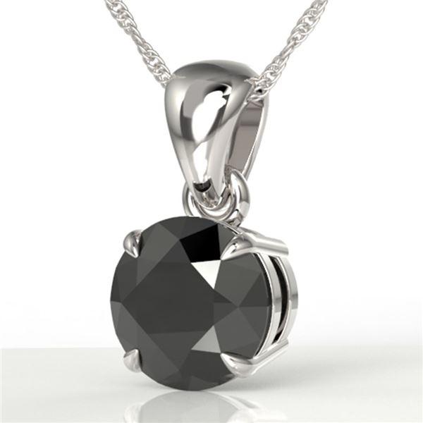2 ctw Black Diamond Certified Necklace 18k White Gold - REF-49F3M