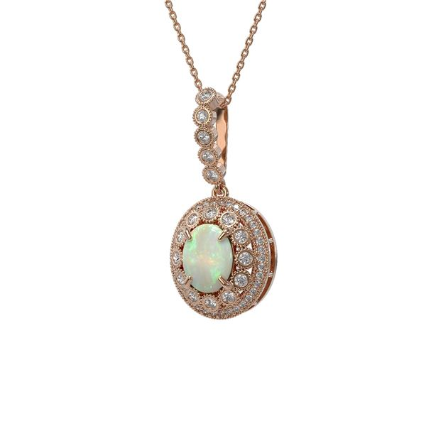 3.9 ctw Certified Opal & Diamond Victorian Necklace 14K Rose Gold - REF-139H8R