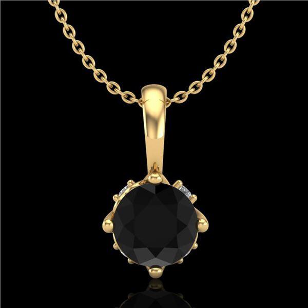 0.62 ctw Fancy Black Diamond Art Deco Stud Necklace 18k Yellow Gold - REF-40Y9X