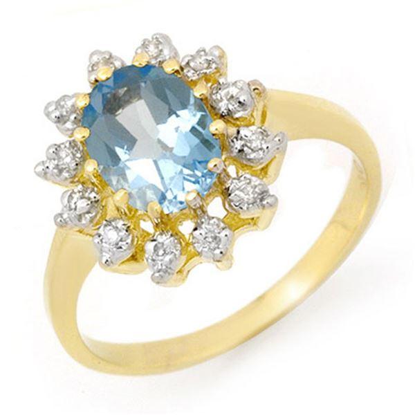 1.51 ctw Blue Topaz & Diamond Ring 10k Yellow Gold - REF-23X9A
