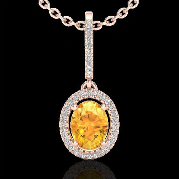 1.75 ctw Citrine & Micro Pave VS/SI Diamond Necklace 14k Rose Gold - REF-40N2F
