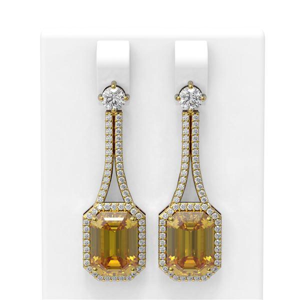 10.35 ctw Canary Citrine & Diamond Earrings 18K Yellow Gold - REF-214M5G