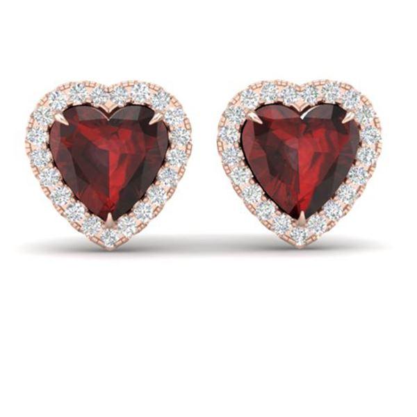 2.22 ctw Garnet & Micro Pave Diamond Earrings Heart 14k Rose Gold - REF-38H2R