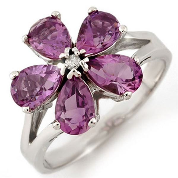 2.52 ctw Amethyst & Diamond Ring 10k White Gold - REF-15K5Y