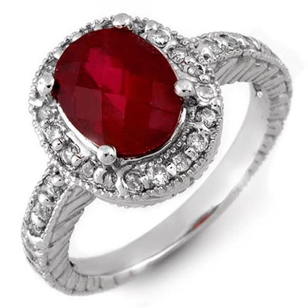 3.40 ctw Rubellite & Diamond Ring 14k White Gold - REF-98M2G