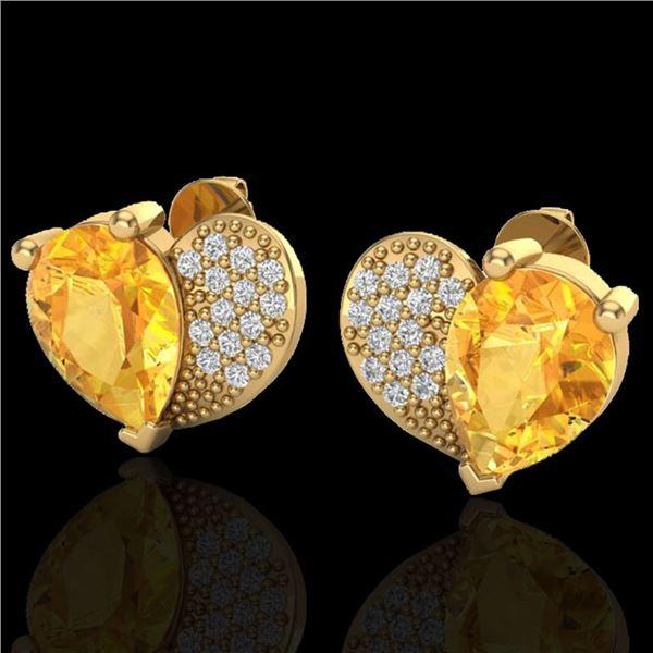 2.50 ctw Citrine & Micro Pave VS/SI Diamond Earrings 10k Yellow Gold - REF-22A5N