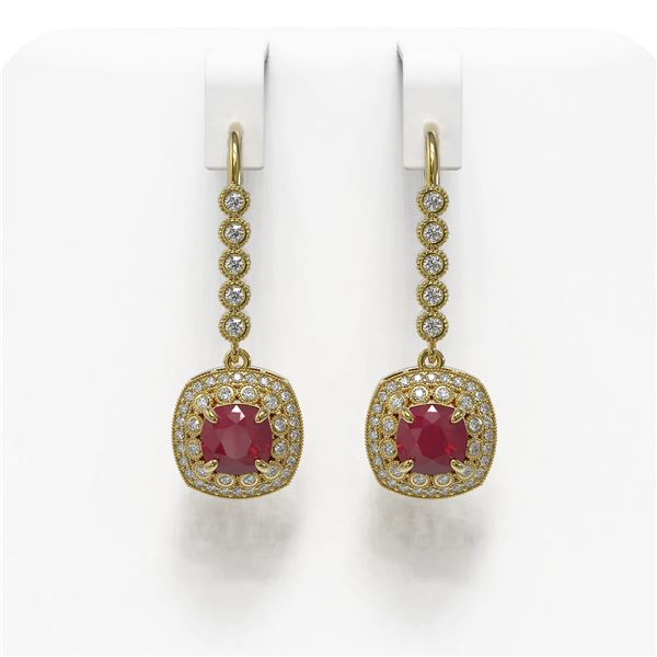 5.1 ctw Certified Ruby & Diamond Victorian Earrings 14K Yellow Gold - REF-172H8R