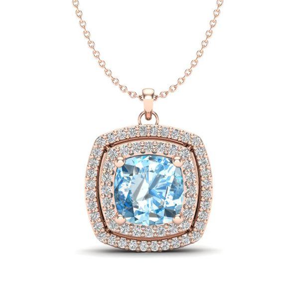 2.08 ctw Sky Blue Topaz & Micro Pave Diamond Necklace 14k Rose Gold - REF-43A8N