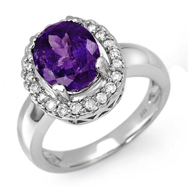 3.90 ctw Tanzanite & Diamond Ring 10k White Gold - REF-115F5M