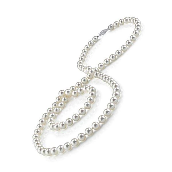 """11 mm Akoya Cultured Pearl 30"""" Necklace Lock 14k White Gold - REF-19A8K"""