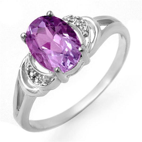 1.05 ctw Amethyst & Diamond Ring 10k White Gold - REF-10G8W