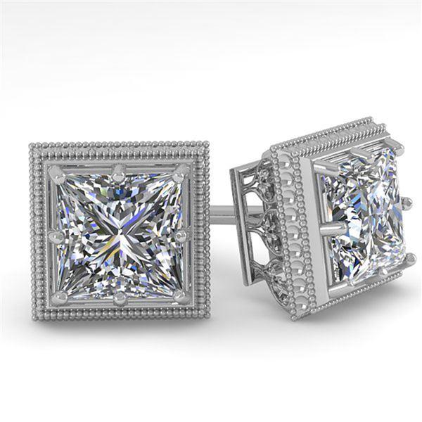 1.0 ctw VS/SI Princess Diamond Stud Earrings Art Deco 18k White Gold - REF-170G9W