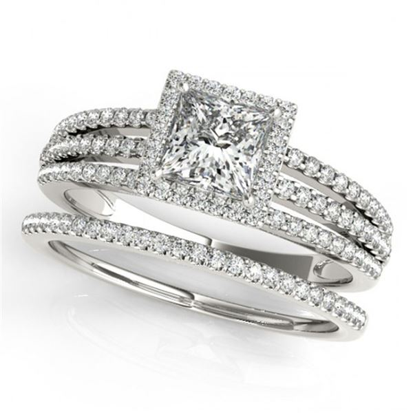 1.05 ctw Certified VS/SI Princess Diamond 2pc Set Halo 14k White Gold - REF-120X8A