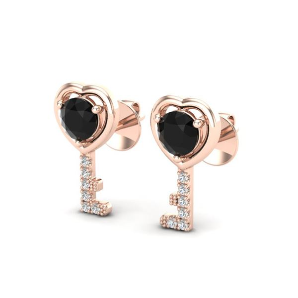0.80 ctw Black Diamond Micro Key to The Heart Earrings 14k Rose Gold - REF-24Y4X