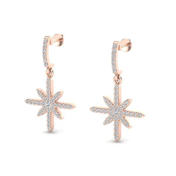 0.75 ctw Micro Pave VS/SI Diamond Certified Earrings 14k Rose Gold - REF-46F4M