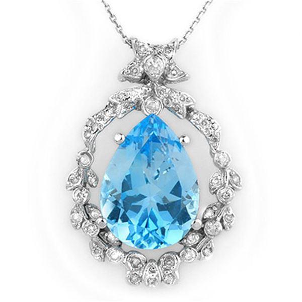13.84 ctw Blue Topaz & Diamond Necklace 14k White Gold - REF-109G6W