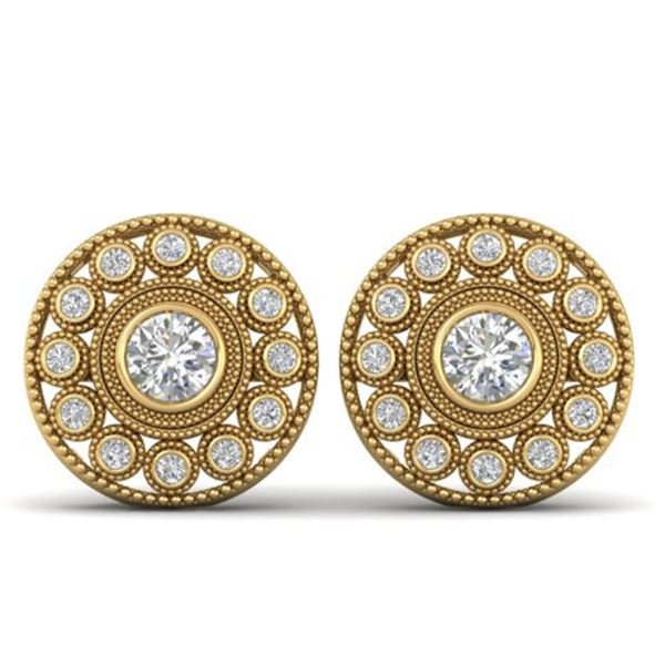 1.11 ctw VS/SI Diamond Art Deco Stud Earrings 14k Yellow Gold - REF-134M5G