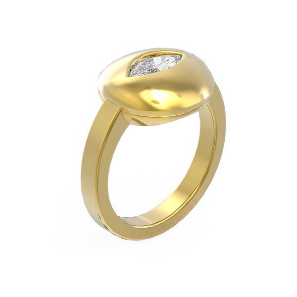 0.52 ctw Marquise Diamond Ring 18K Yellow Gold - REF-151W6H