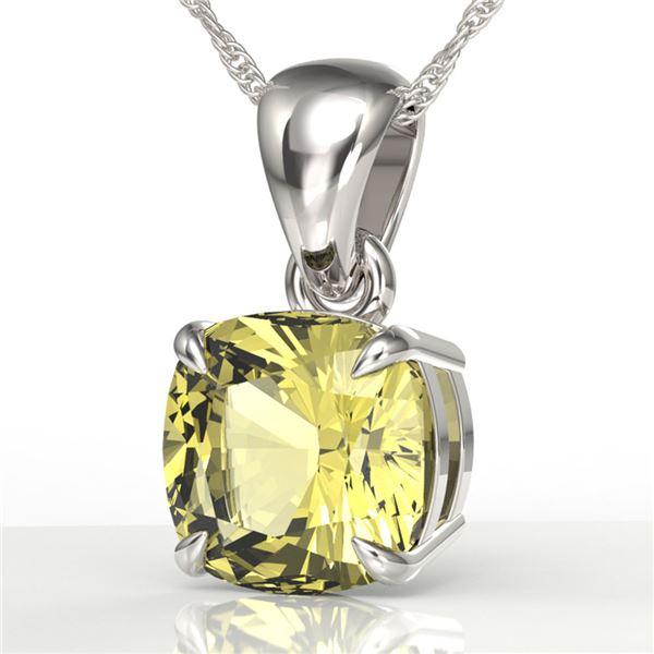 2 Cushion Cut ctw Sapphire Designer Solitaire Necklace 18k White Gold - REF-21R3K