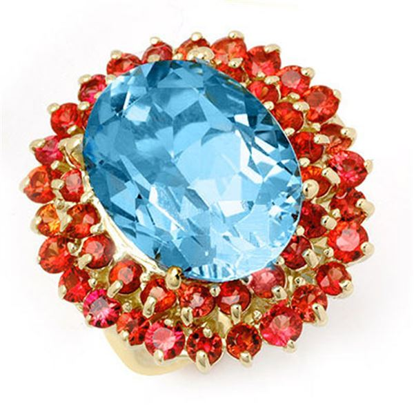 14.25 ctw Red Sapphire & Blue Topaz Ring 10k Yellow Gold - REF-82K2Y