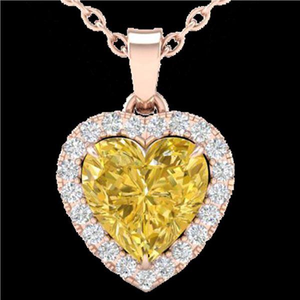1 ctw Citrine & Micro Pave VS/SI Diamond Heart Necklace 14k Rose Gold - REF-21F3M