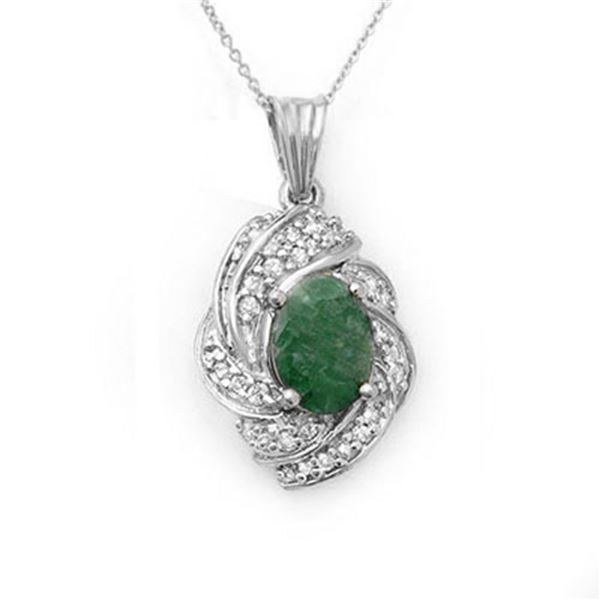 3.17 ctw Emerald & Diamond Pendant 18k White Gold - REF-93R3K