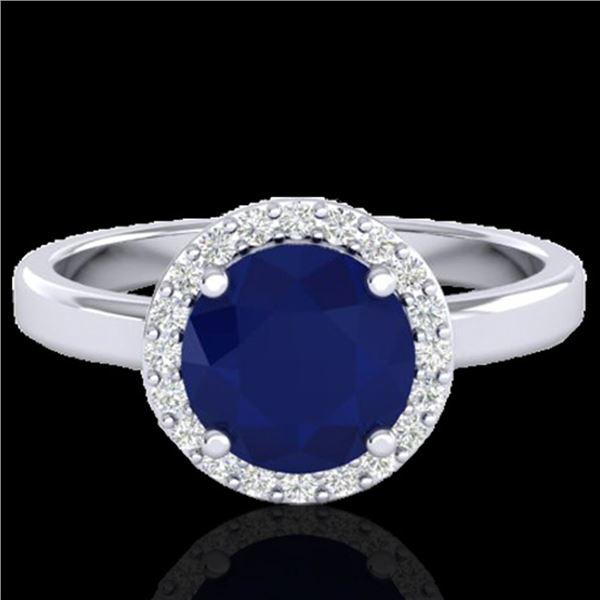 2 ctw Sapphire & Halo VS/SI Diamond Micro Pave Ring 18k White Gold - REF-39A5N