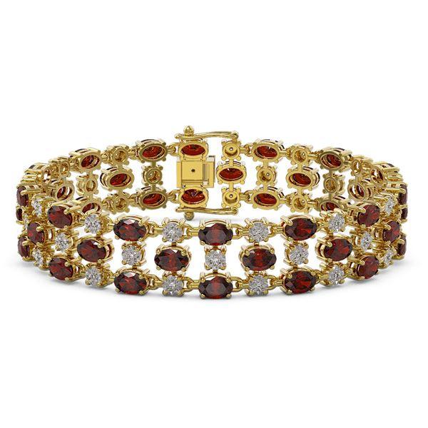 24.68 ctw Garnet & Diamond Bracelet 10K Yellow Gold - REF-227X3A
