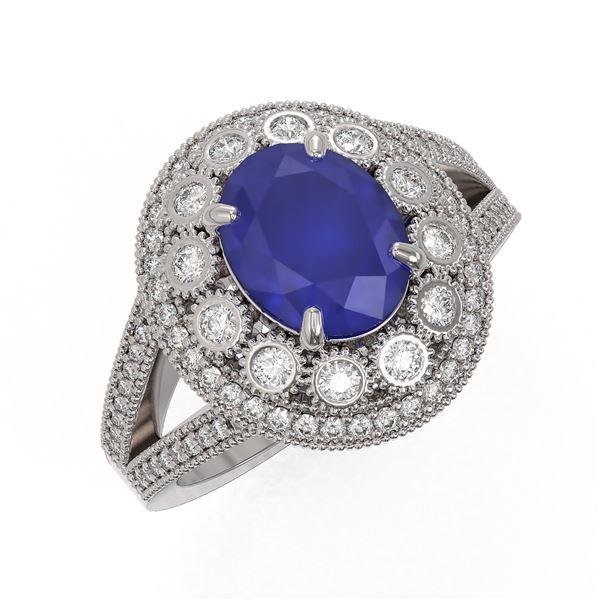 4.55 ctw Certified Sapphire & Diamond Victorian Ring 14K White Gold - REF-143W6H