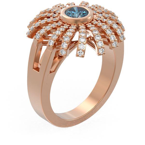 1.5 ctw Intense Blue Diamond Ring 18K Rose Gold - REF-206G8W