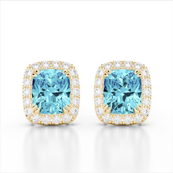 2.50 ctw Sky Blue Topaz & Micro VS/SI Diamond Earrings 10k Yellow Gold - REF-30Y8X
