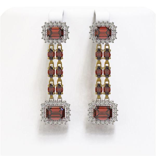 10.62 ctw Garnet & Diamond Earrings 14K Yellow Gold - REF-190F2M