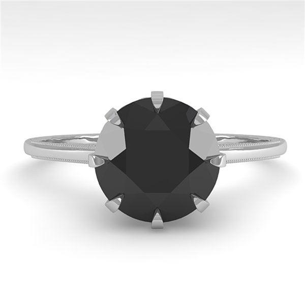 2.0 ctw Black Diamond Designer Engagment Ring 18k White Gold - REF-73H5R