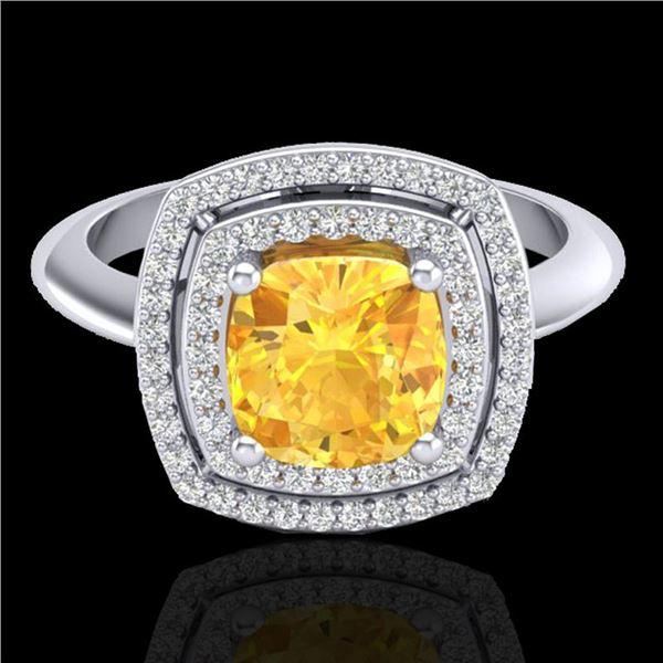 1.77 ctw Citrine & Micro VS/SI Diamond Pave Ring 18k White Gold - REF-49F3M