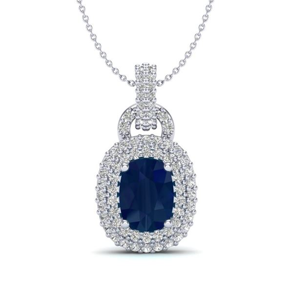 2.50 ctw Sapphire & Micro Pave VS/SI Diamond Necklace 14k White Gold - REF-52H8R
