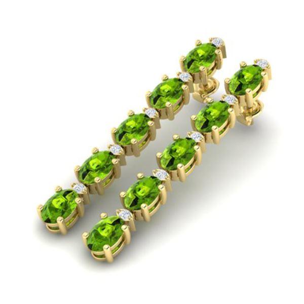 6 ctw Peridot & VS/SI Diamond Certified Earrings Yellow 10k Yellow Gold - REF-28N8F