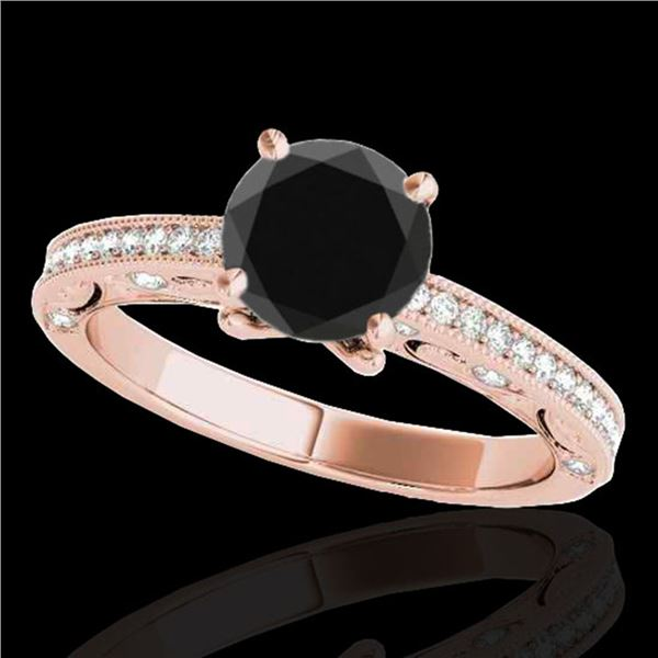 1.25 ctw Certified VS Black Diamond Solitaire Antique Ring 10k Rose Gold - REF-42A5N