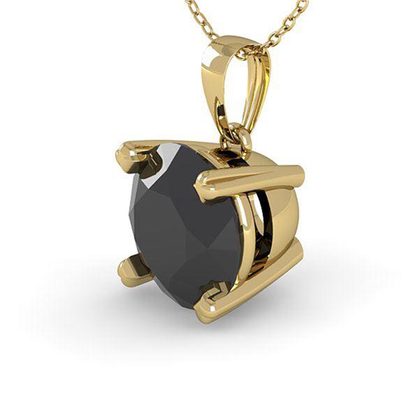2.0 ctw Black Diamond Designer Necklace 14k Yellow Gold - REF-35N6F