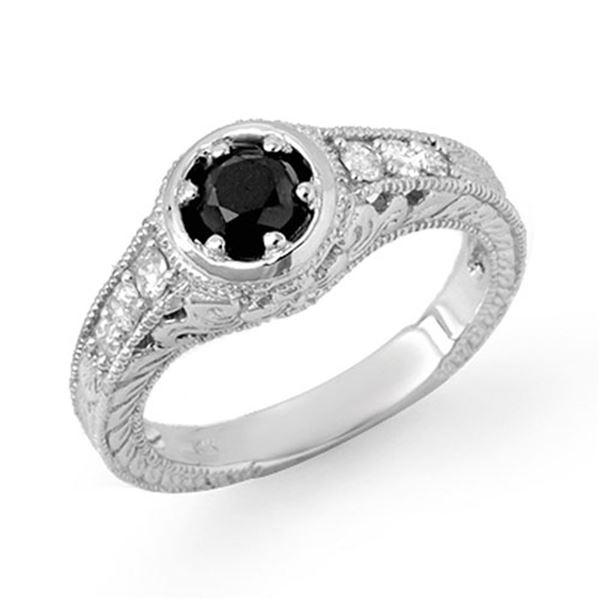 0.80 ctw VS Certified Black & White Diamond Ring 14k White Gold - REF-45M8G