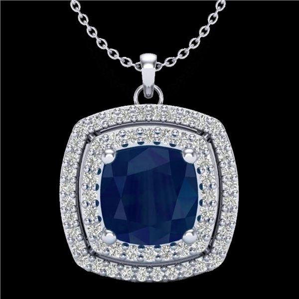 2.52 ctw Sapphire & Micro Pave VS/SI Diamond Necklace 18k White Gold - REF-55R2K