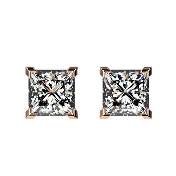 1 ctw Certified VS/SI Quality Princess Diamond Stud Earrings 10k Rose Gold - REF-120N3F
