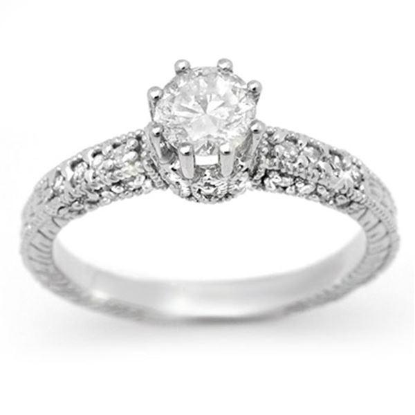 1.0 ctw Certified VS/SI Diamond Solitaire Ring 18k White Gold - REF-129M3G