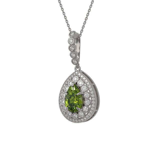 4.97 ctw Tourmaline & Diamond Victorian Necklace 14K White Gold - REF-164W2H
