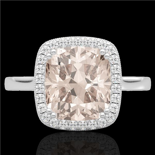 3 ctw Morganite & Micro Pave VS/SI Diamond Halo Ring 18k White Gold - REF-55M8G