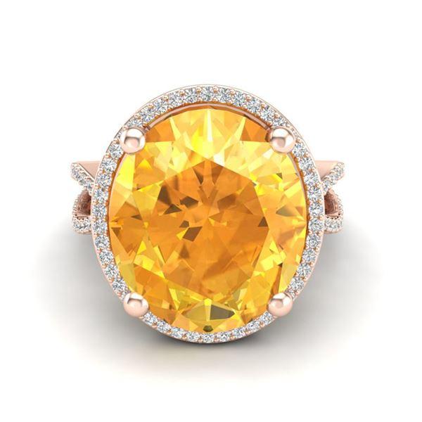 10 ctw Citrine & Micro Pave VS/SI Diamond Ring 14k Rose Gold - REF-55K2Y
