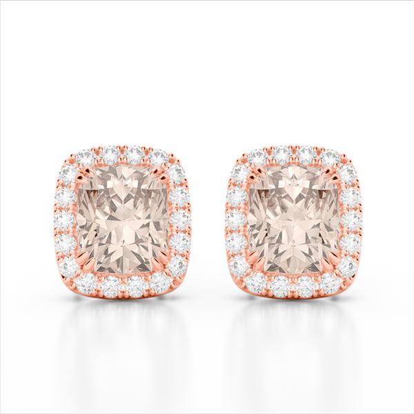 2.50 ctw Morganite & Micro Pave VS/SI Diamond Earrings 10k Rose Gold - REF-48Y6X