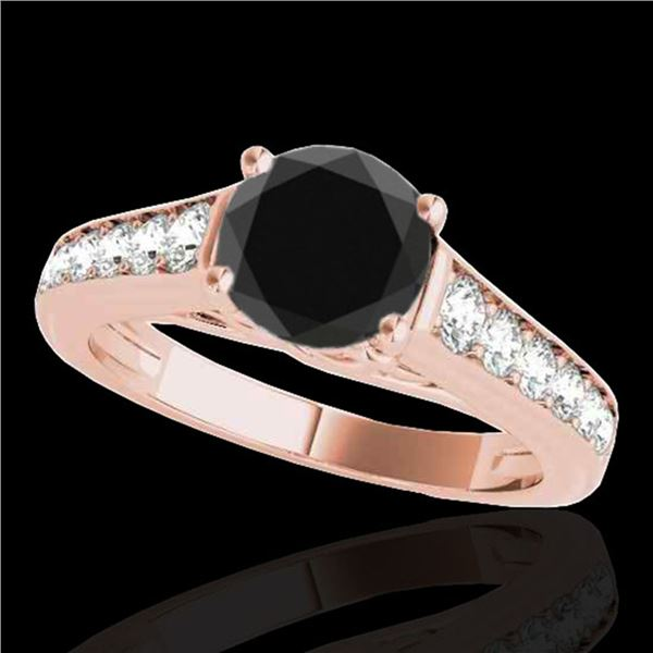 1.5 ctw Certified VS Black Diamond Solitaire Ring 10k Rose Gold - REF-54X2A