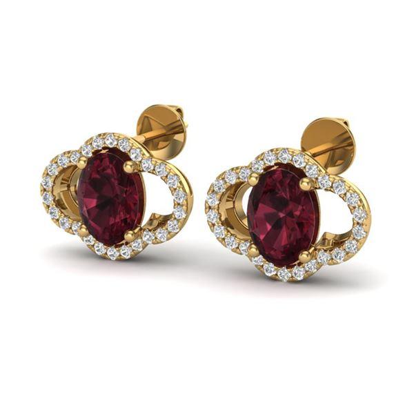 4 ctw Garnet & Micro Pave VS/SI Diamond Certified Earrings 10k Yellow Gold - REF-45F3M