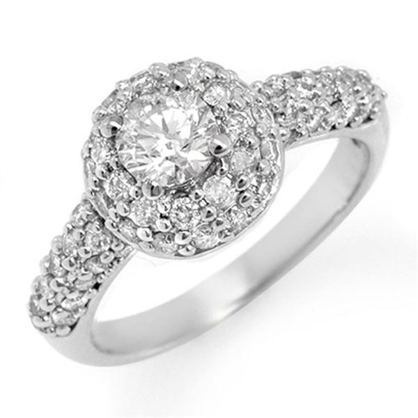 1.35 ctw Certified VS/SI Diamond Ring 18k White Gold - REF-146R5K