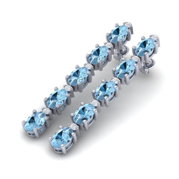 5 ctw Aquamarine & VS/SI Diamond Certified Tennis Earrings 10k White Gold - REF-42M3G